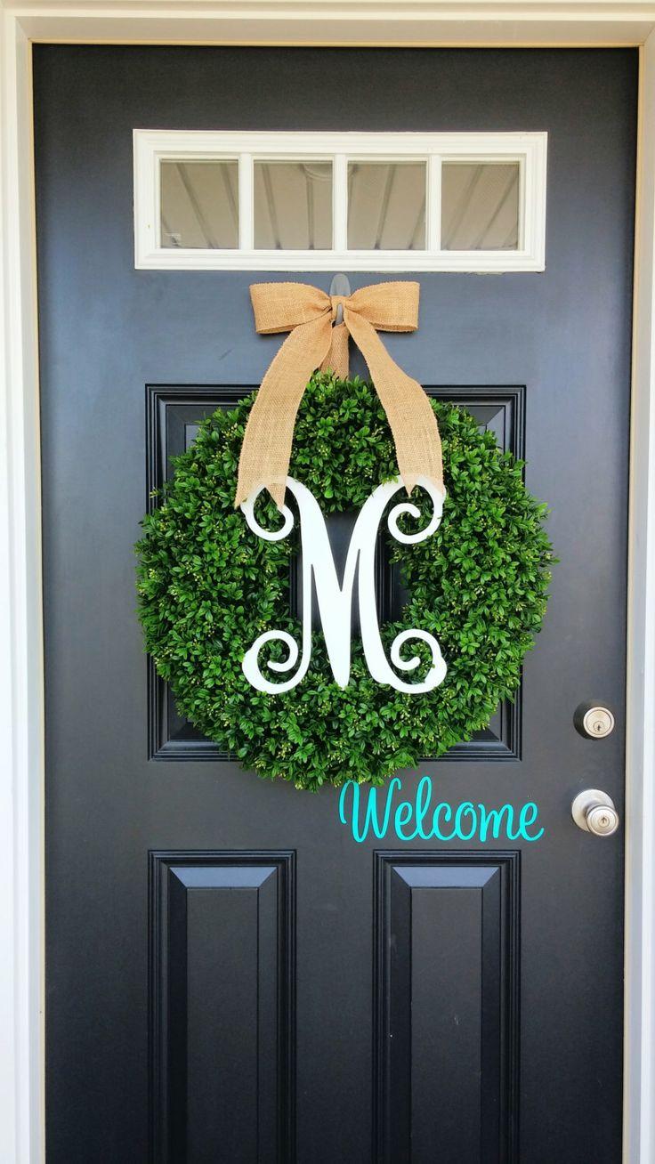 Monogram Front Door Wreaths - Boxwood wreath monogram wreath summer wreath front door wreath fall monogram wreath