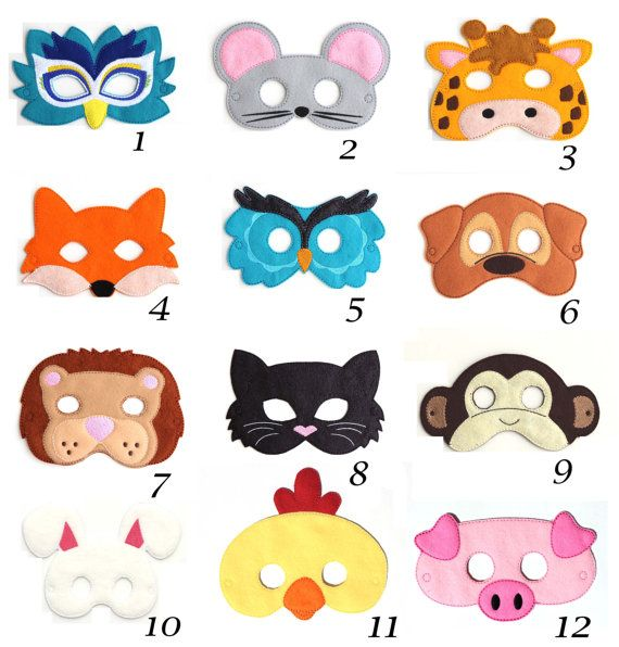 This listing is for Pick Any 2 of our super cute felt kids masks. Feel free to mix and match. These are great for Halloween, costume parties,