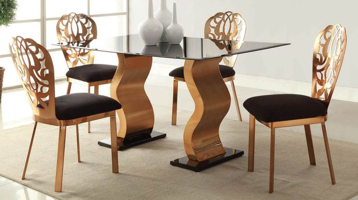 Misu Rose Gold Plated Dining Table By Acme Furniture Home