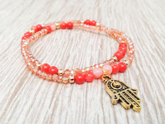 HAMSA  Set of 2 stackable beaded bracelets in by Olive1990 on Etsy, €4.85