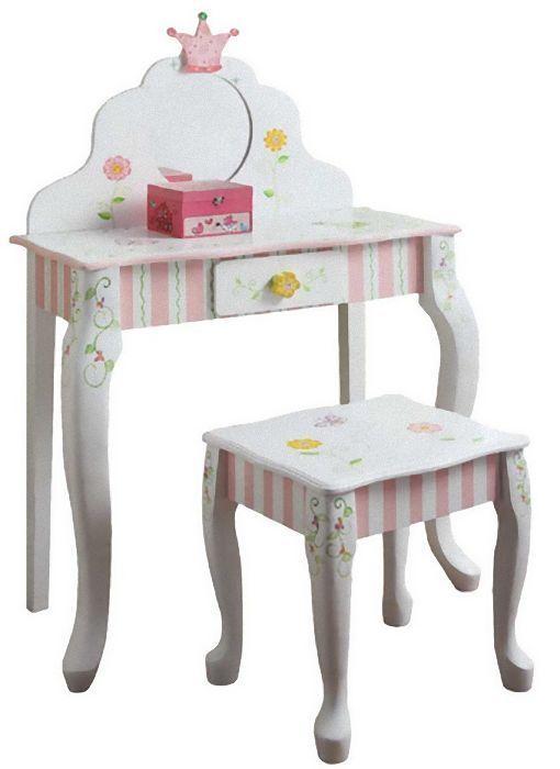 Girls Vanity Set Vanity Table Pink Vanity Set Kids Vanity Table Set Wooden  New