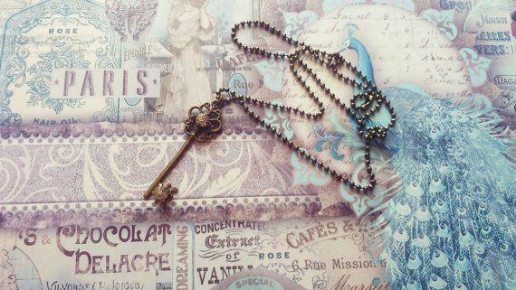 Bronze Rhinestone Key Pendant Ballchain Necklace by CinnamonJane