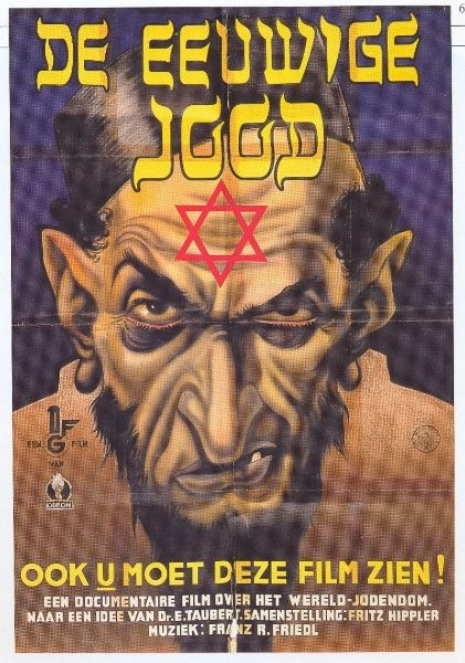 """This poster advertises the Dutch version of the 1940 anti-Jewish film """"The Eternal Jew""""."""