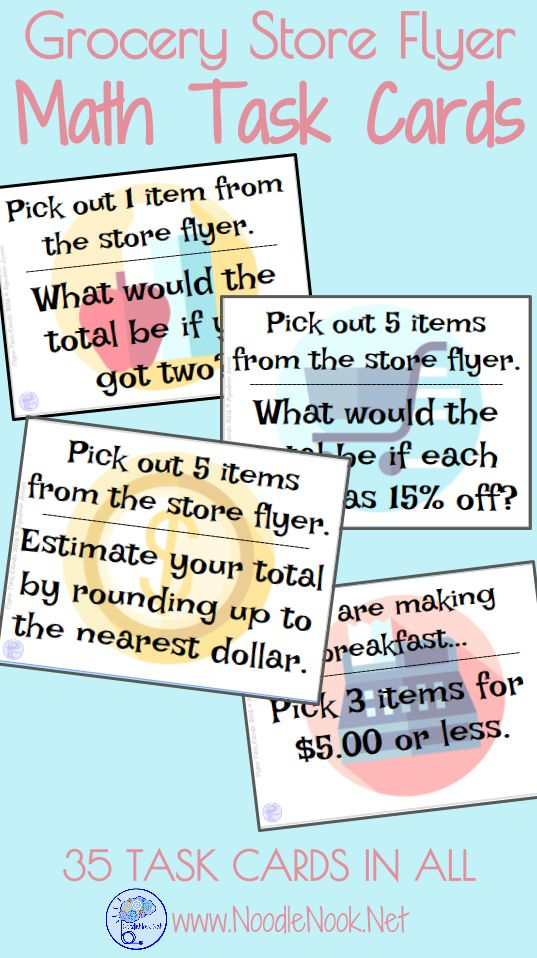 Math Task Cards for Grocery Store Flyers! --> Working on money skills but want more meaningful activities in your classroom? This one is just for you! Academic, Functional, and FUN!