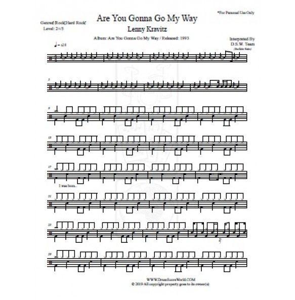 Drum Score Lenny Kravitz Are You Gonna Go My Way Kravitz