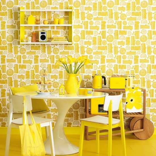 Retro Style Bright Yellow Dining Room