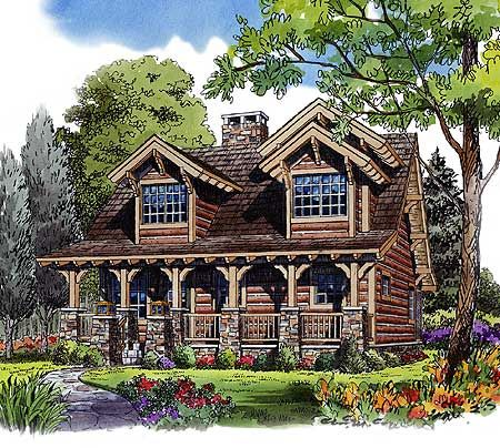 Plan 11536kn rustic 4 bedroom cottage home sleep and for Log cabin roof design