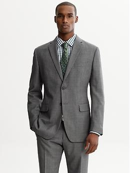 A Sharp Slim Fit Grey Wool Two Button Suit Blazer From Banana - Interview-suit-color