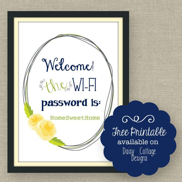 Wi-Fi Password Free Printable - Daisy Cottage Designs