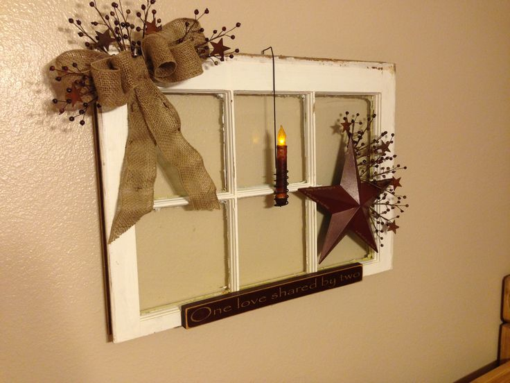 Primitive Window: Made this for my bedroom.  Simple but I LOVE IT!