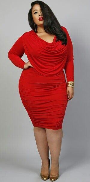 Red Cowl Neck Dress Plus Size Style Inspiration Womens Apparel #UNIQUE_WOMENS_FASHION