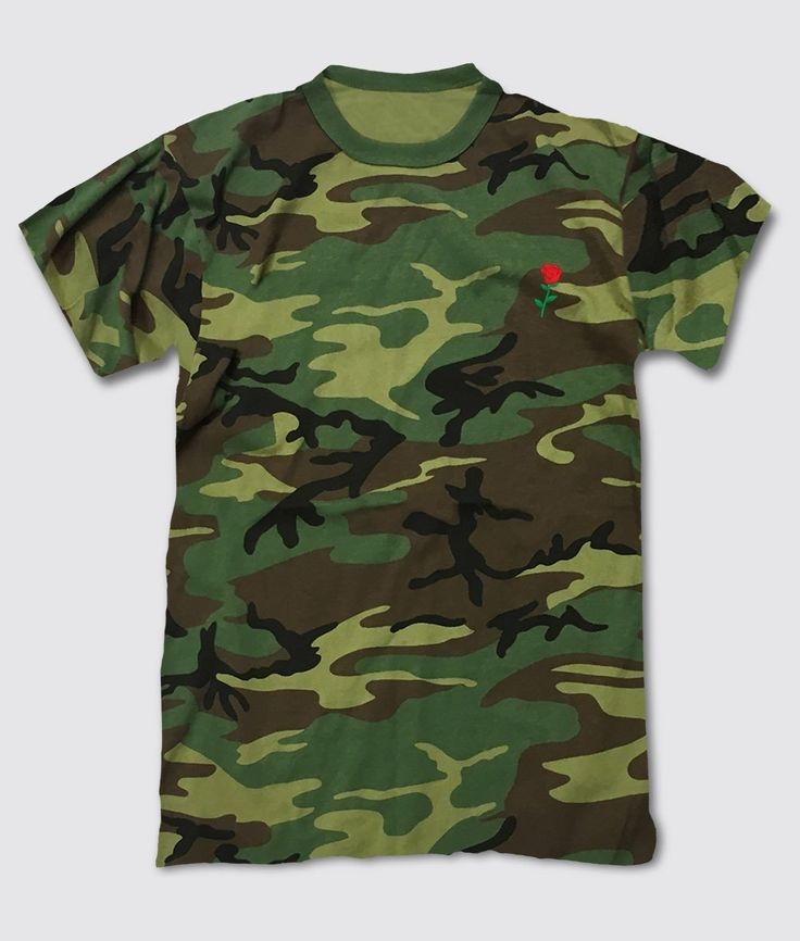 Rose Embroidered Camo Mens T-Shirt