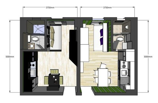 Plan View 20sqm Studio Layouts Pinterest Clever Design Studios And Squares
