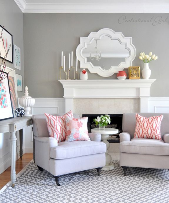 coral + gray living room via @Centsational Blog Blog Blog Blog Girl