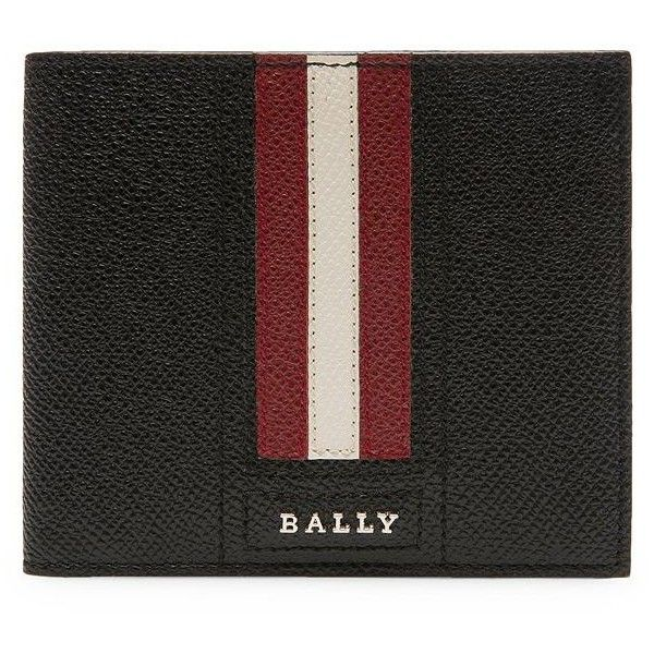 Bally Stripe Leather Bi-Fold Wallet ($215) ❤ liked on Polyvore featuring men's fashion, men's bags, men's wallets, mens leather credit card holder wallet, mens credit card holder wallet, mens leather wallets, mens bifold leather wallet and mens bifold wallet
