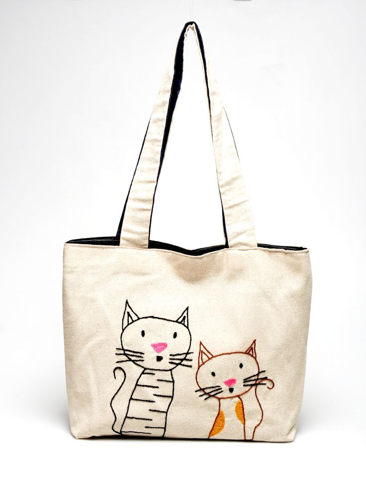 """Bag Collection: Shoulder Bag IV """" Confused Cats"""" ( 35x45 cm). $34.00, via Etsy."""
