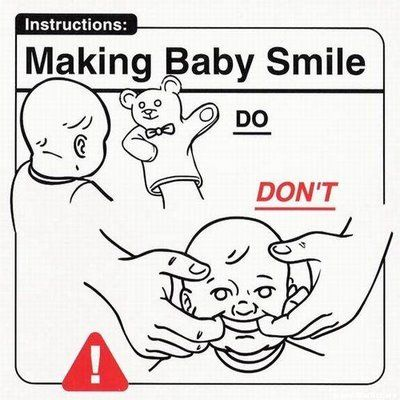 Don't use your hands to force baby to smile.