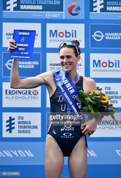 Gwen Jorgensen of the United States of America celebrates after the ITU Women's Elite Sprint race during the ITU World Triathlon Hamburg on July 18, 2015 in Hamburg, Germany.