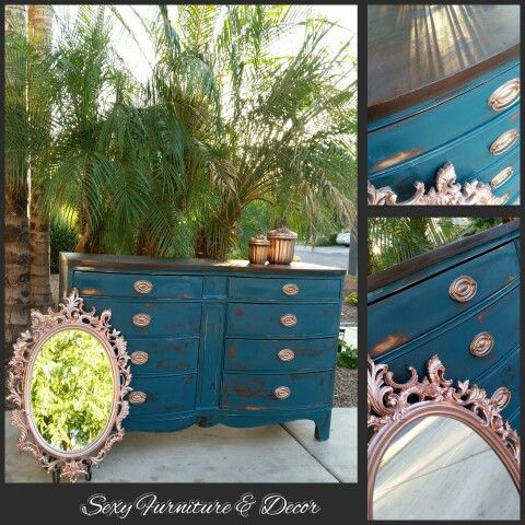 Duncan Phyfe 8 drawer dresser.  Finished in dark teal with copper and rose gold finished hardware.
