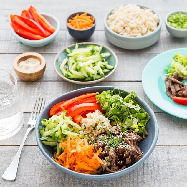 MARINATED JAPANESE BEEF BOWLS WITH TERIYAKI DRESSING