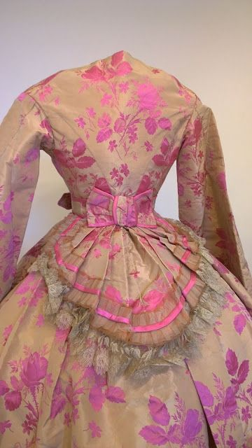 Floral silk trained dress, late 1860s