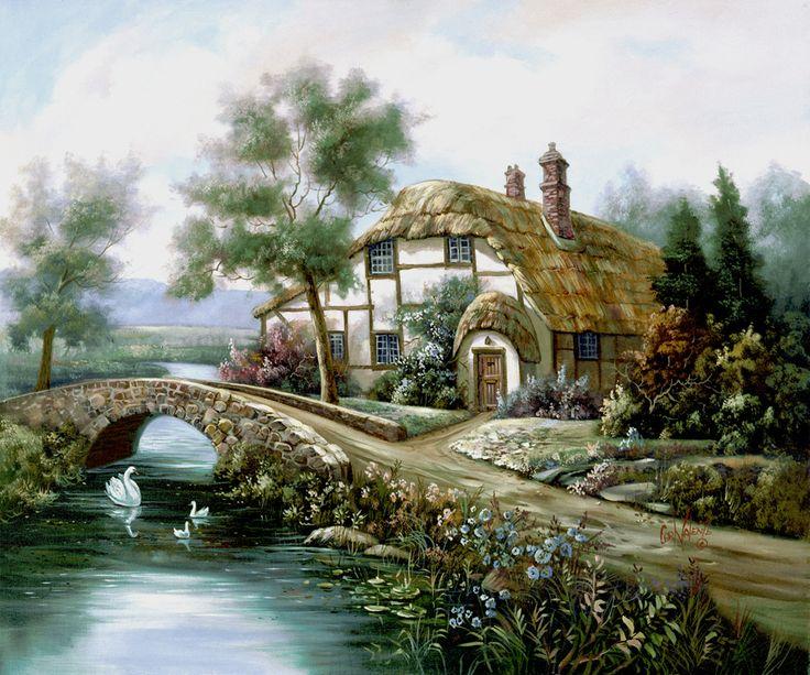 River Avon by Carl Valente ~ English country cottage ~ stone bridge