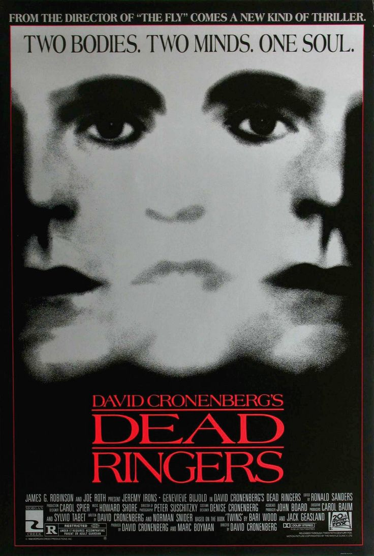 Dead Ringers (1988) starring Jeremy Irons as twin brothers Elliot and Beverly Mantle, who are both gynecologists. I love Jeremy Irons and the fact that he plays twins (I'm an identical twin myself) but I absolutely hate drugs, smoking, sex, & alcohol.