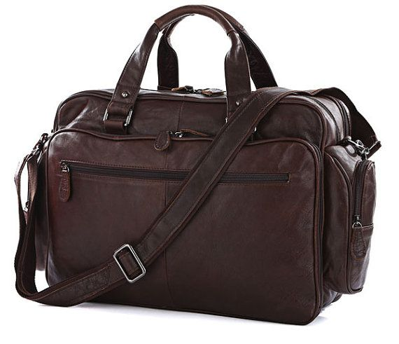 Super LARGE Leather Briefcase / Travel Bag by MooshiLeatherDesign