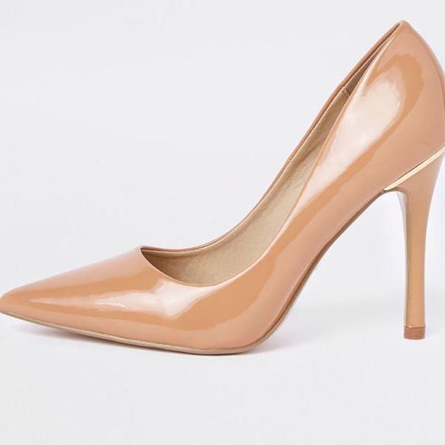 Beige Patent Pointed Court Shoe from River Island. We all love a shoe that not only feels comfortable on but more importantly, something that looks great