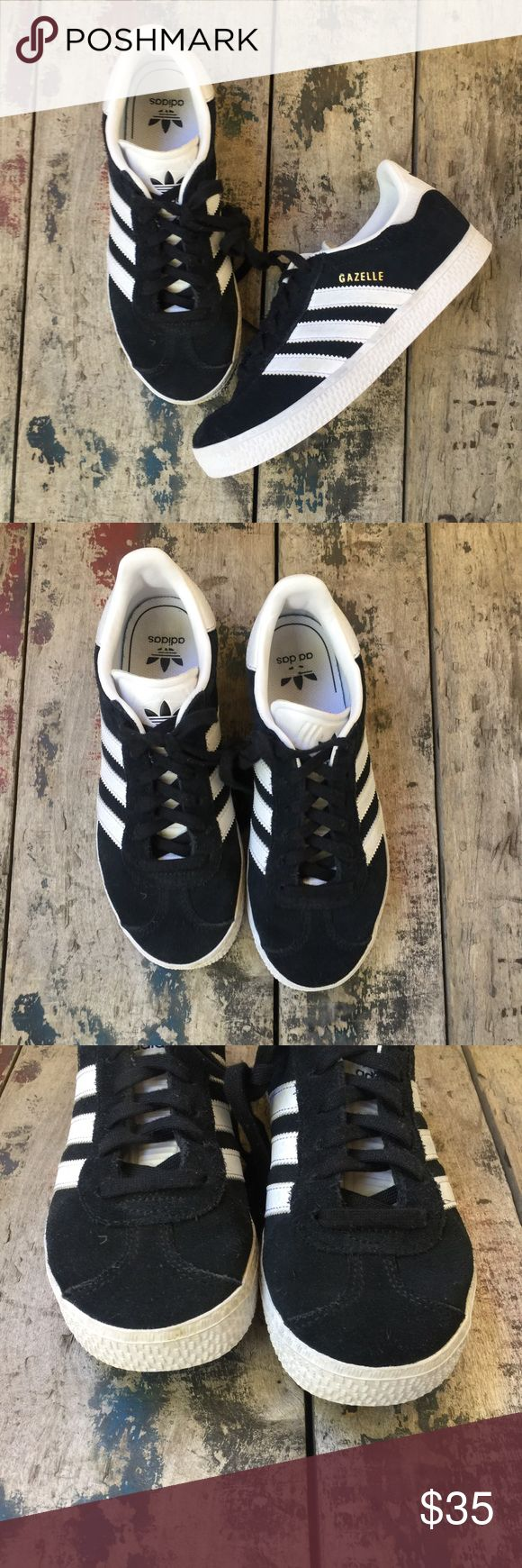 Adidas GAZELLE black shoes sz 2 youth Lightly used clean adidas Shoes Sneakers