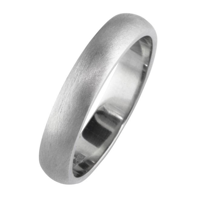 4mm Brushed Satin D Shape Wedding Band In Platinum