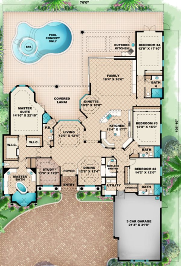 Mediterranean Style House Plan - 4 Beds 5.00 Baths 3985 Sq/Ft Plan #27-420 Floor Plan - Main Floor Plan - Houseplans.com