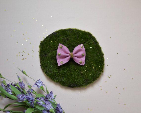 flush  pink wool felt studded hair bow tied with suede cord / wool felt hair bow / felt bow / felt headband / studded bow / cloth crowns