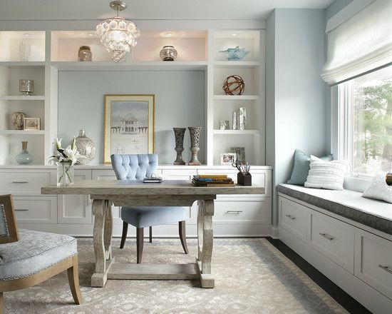 enchanting home office wall colors blue | , Contemporary Home Office Design Ideas With Classic Gray ...