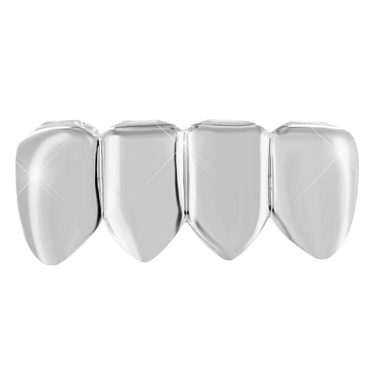 Custom Fit Bottom Grillz Teeth Caps Mens White Gold Finish