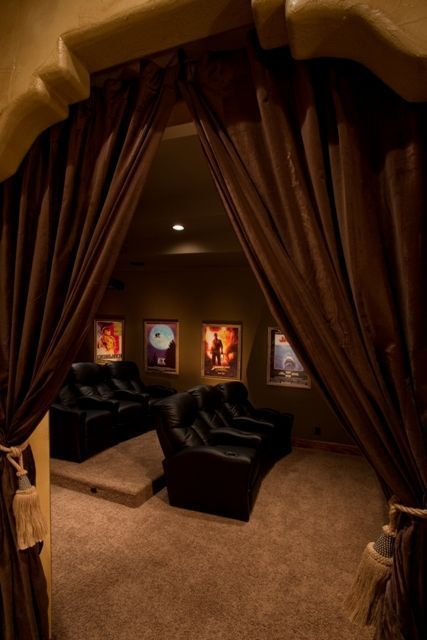Browse home theater design and living room theater decor inspiration. Discover designs, colors and furniture layouts for your own in-home movie theater. #hometheateraccessories