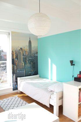 dieartigeBLOG - Kinderzimmer Upgrade   Jugend-Jungen-Zimmer in Mint, Hellgrau, Weiß mit New-York-Fototapete