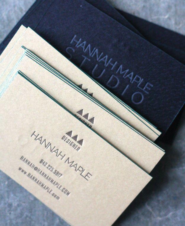 Tan and black duplexed paper #letterpress #business #cards <<< repinned by www.BlickeDeeler.de