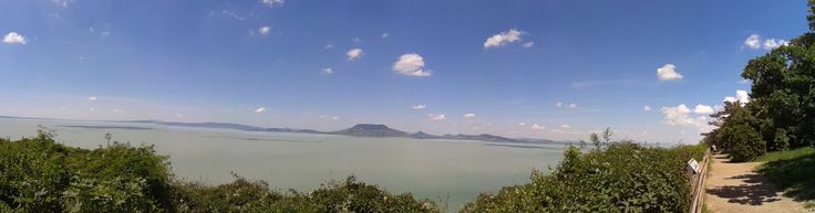 On a bike tour panoramic view to Lake Balaton.