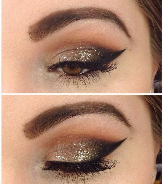 spice up brown eyeshadows with golden glitter More