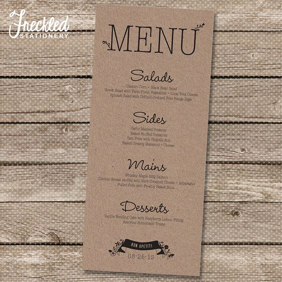 Wedding Menu  Printable PDF  Garden Whimsy by FreckledStationery, $20.00
