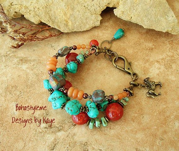 This chunky, rustic stone bracelet is designed in traditional Southwest colors, and includes Turquoise nuggets, green Turquoise, large Fire Crackle