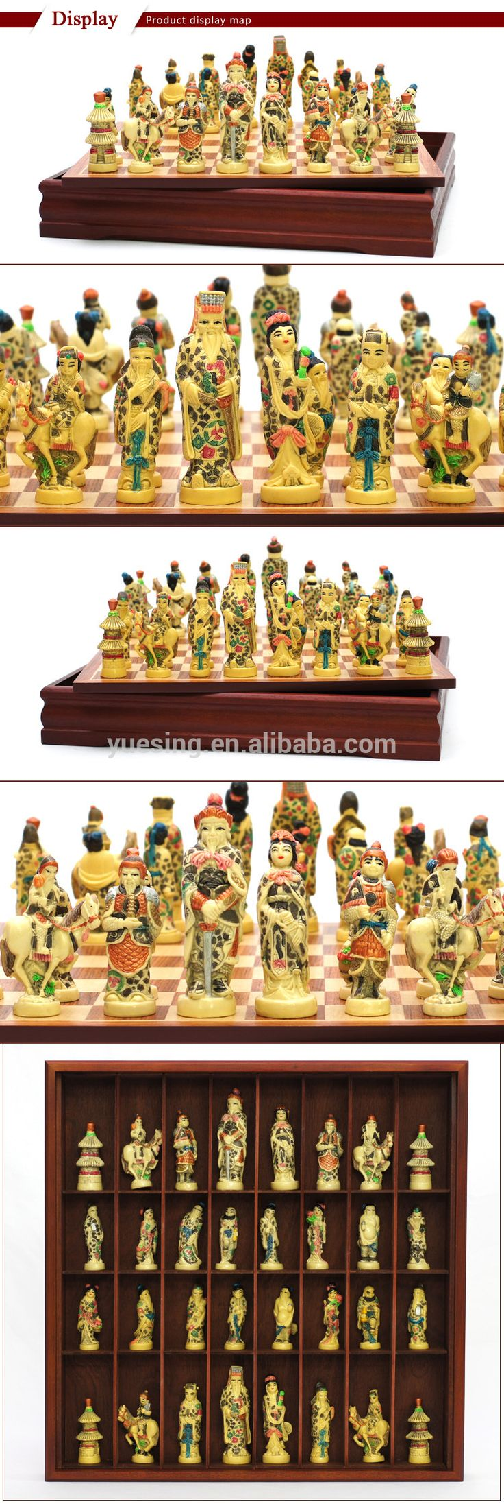 Portrait Of Chinese Myth Theme 3d Chess Set with Antique Handmade Wooden Case