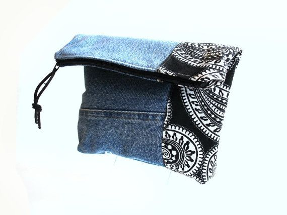 """Denim clutch bag. black and white paisley by NancyEllenStudios, $24.00.Denim clutch bag. black and white paisley by NancyEllenStudios, $24.00,  8 1/2"""" wide x 7"""" high folded It is 10 1/2"""" high unfolded. Care: Machine wash or hand wash, dry flat."""