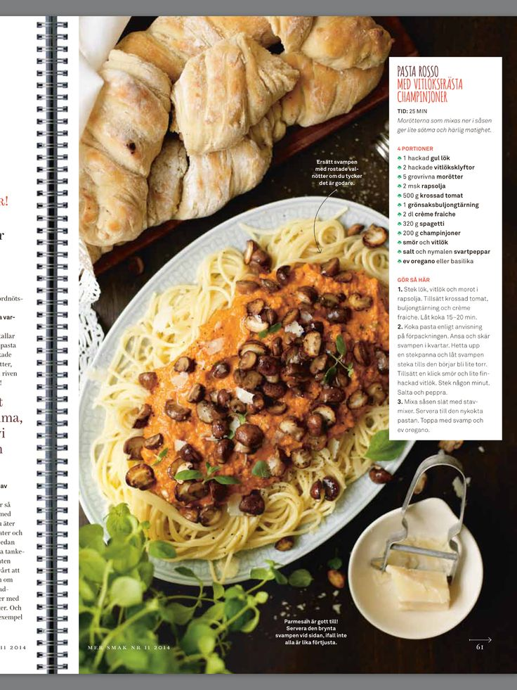 Pasta Rosso med vitlöksfrästa champinjoner