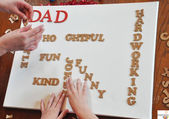 DAD word art canvas is an easy, inexpensive Fathers Day gift kids can make