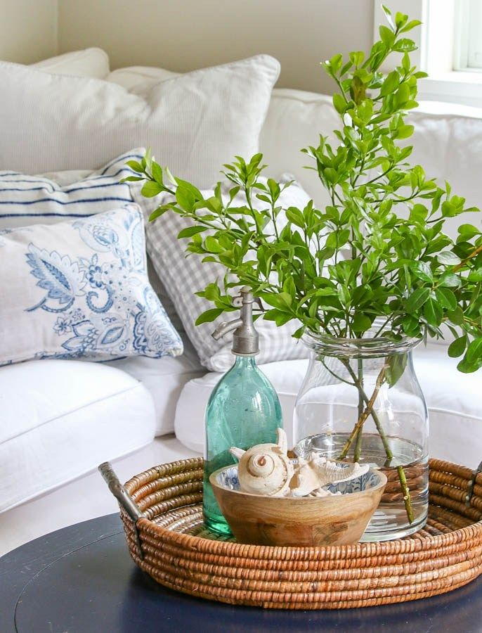Pretty and fresh late spring nature inspired home tour  Furniture makeovers  in blues and greens. 11 best it started with VIGNETTES images on Pinterest