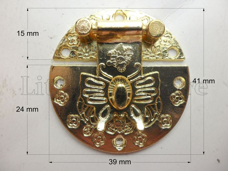 High Quality Golden Color Round butterfly  jewelry boxes latch gift box latches  small box hardware chest hardware - 41mm x 39mm  - LC0168 by LittleHardware on Etsy