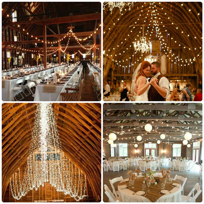 TOP 10 Barn Wedding Decor Ideas  It's amazing what beauty you can get with white twinkle lights!