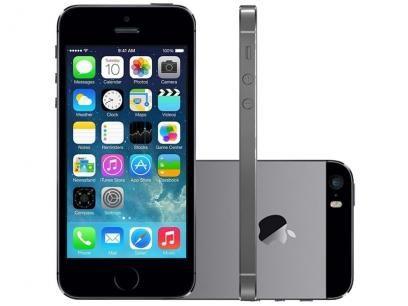 """iPhone 5S Apple 32GB Cinza Espacial Tela 4"""" Retina - Câmera 8MP + Frontal iOS 7 Proc. M7 Touch ID com as melhores condições você encontra no Magazine Midiag4. Confira!"""